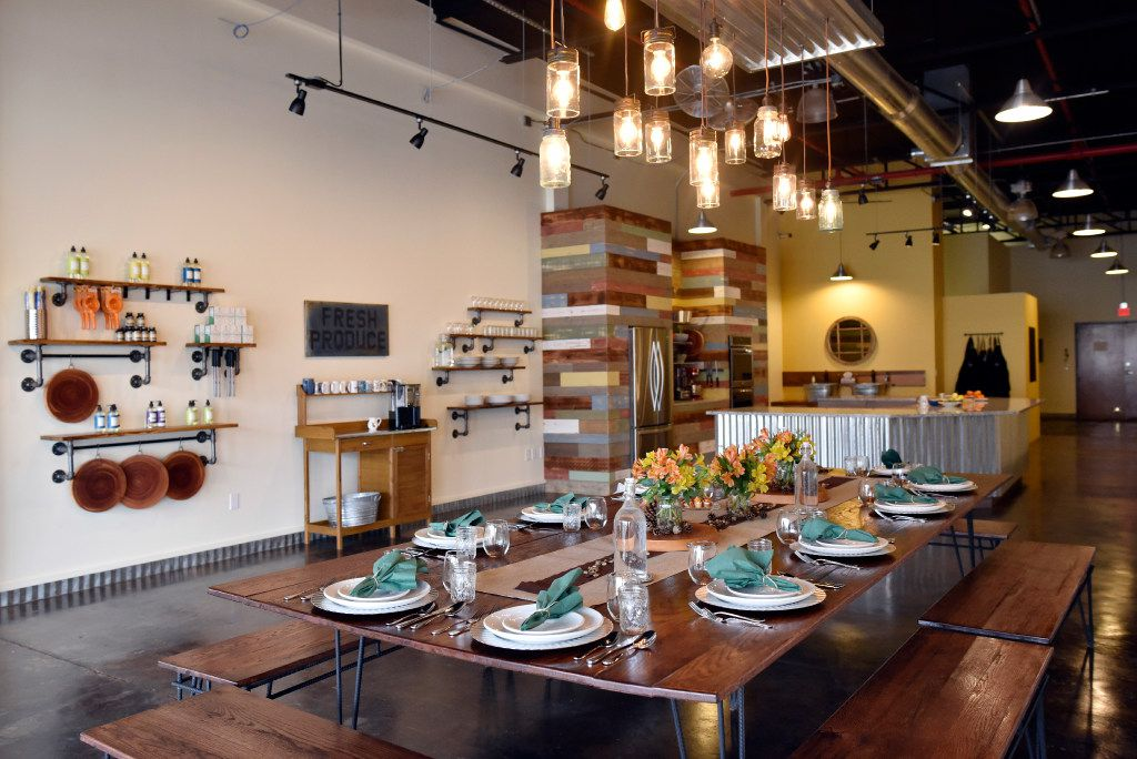 A farm table is where students will enjoy the food they have prepared at The Cookery.