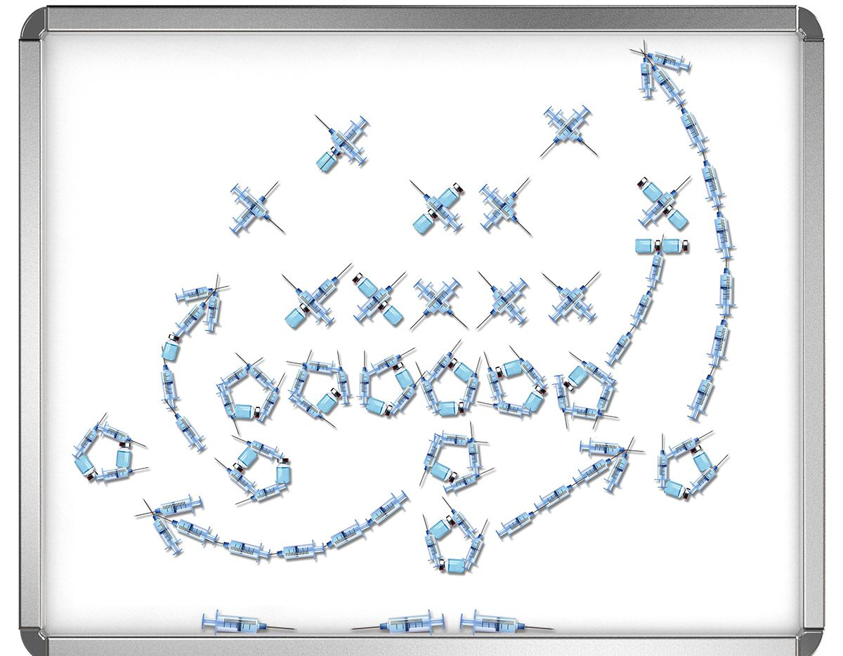 Syringes are used to draw up a play on a whiteboard in this staff illustration. COVID-19 vaccinations aren't being universally required at the NFL and college levels, but they have been a hot topic this summer among football coaches, and that has trickled down to the high school game.
