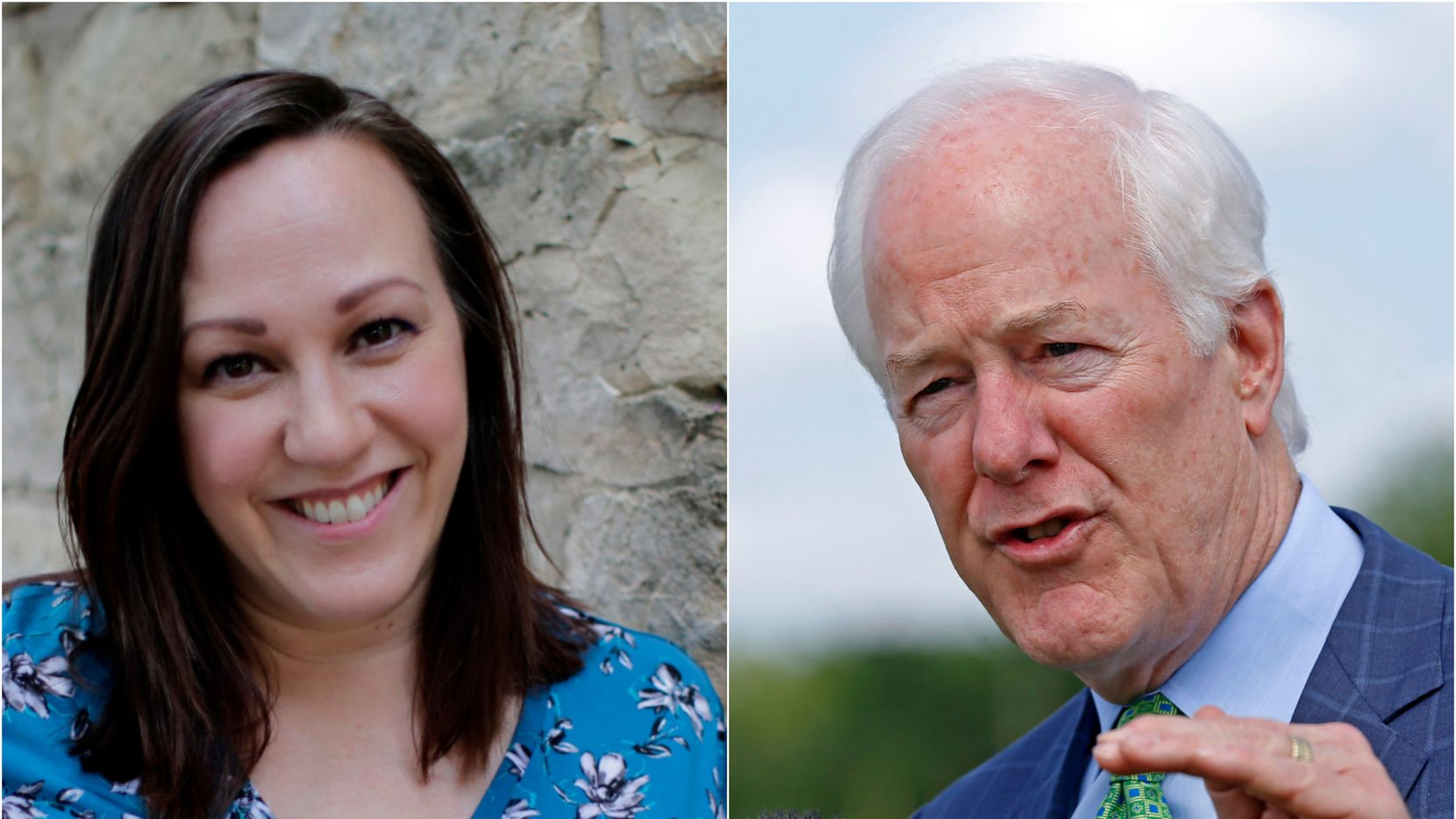 MJ Hegar in Round Rock, Texas, on July 1, 2019 (AP/Eric Gay) and right, Sen. John Cornyn outside the federal prison in  Seagoville, Texas, on May 11, 2018. (Jae S. Lee/Dallas Morning News)