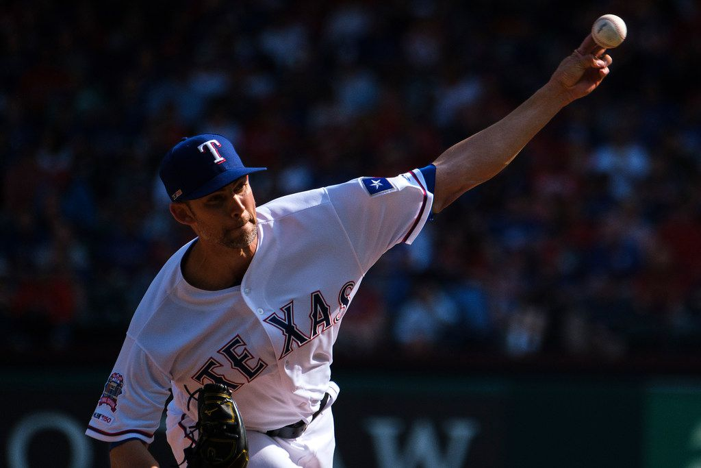 Texas Rangers starting pitcher Mike Minor throws during the fifth inning against the Chicago Cubs at Globe Life Park on Thursday, March 28, 2019, in Arlington. (Smiley N. Pool/The Dallas Morning News)
