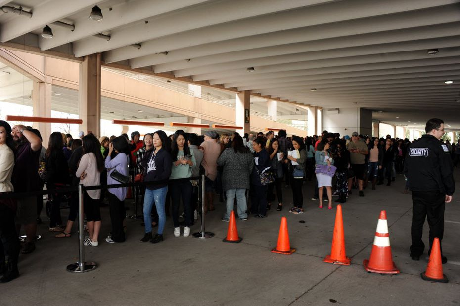 Fans wait in a three-hour or longer line. Three hours!