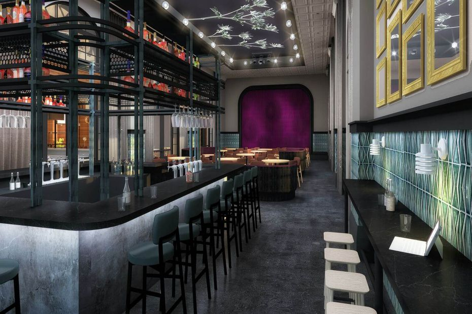 "This rendering shows Harvest Hall's smallest section, called South Hall, which will be used as a lounge or work session spot that can be used as a private event space. And don't call the food hall a food court: ""It drives me crazy when people say food court,"" says Tom Santora, chief commercial officer for Coury Hospitality. ""We're not a court. It's going to be a really interesting dining experience."""