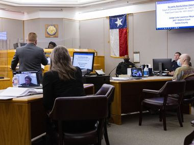 Randy Halprin (right), one of the Texas Seven prison escapees convicted in the murder of an Irving police officer, listens as his lawyer Paul Mansur addresses Judge Lela Mays of the 283rd Judicial District Court on Wednesday, July 14, 2021, at Frank Crowley Courthouse in Dallas. Halprin, who is Jewish, is contesting he didn't get a fair trial in 2003 arguing that the judge, Vickers L. Cunningham, is anti-Semitic. (Juan Figueroa/The Dallas Morning News)