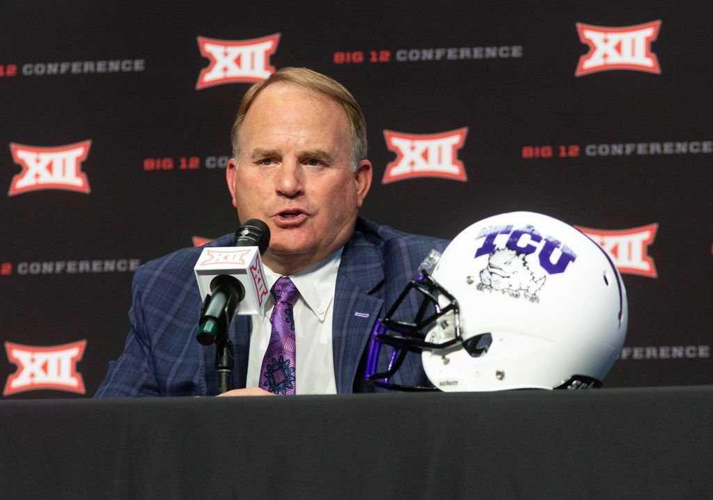 Texas Christian University head football coach Gary Patterson speaks during the Big 12 Conference Media Days event at the AT&T Stadium in Arlington, Texas, Monday, July 15, 2019. (Lynda M. Gonzalez/The Dallas Morning News)