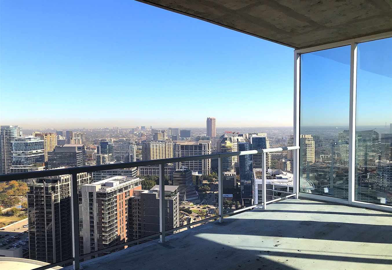 A 39th floor penthouse balcony  at The Victor is oversized.