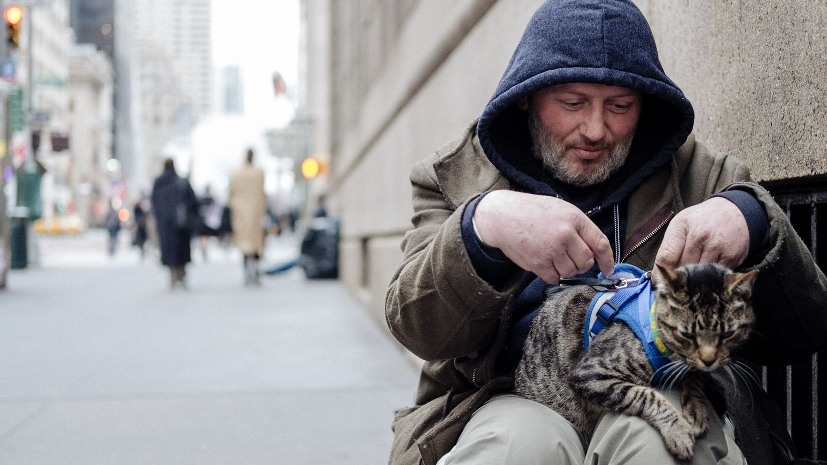 """David Giovanni lives with his cat, Lucky, on the streets of New York City in """"Cat Daddies."""""""