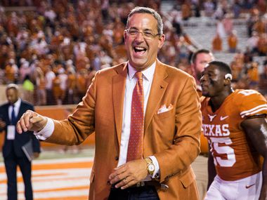 Texas Longhorns Athletic Director Chris Del Conte smiles after a 37-14 win over the USC Trojans on Saturday, September 15, 2018 at Darrell K Royal Memorial Stadium in Austin, Texas. (Ashley Landis/The Dallas Morning News)