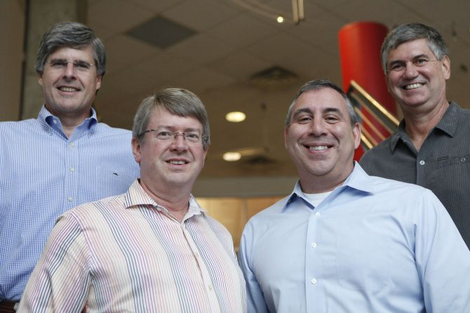 Trailblazer Capital's principals are (from left) Joel Fontenot, managing partner; David Matthews, managing partner; John Curreri, CFO and COO; and George Barber, venture partner. Trailblazer is an avid investor in accelerators, which are boot-camp-type programs that provide entrepreneurs with seed capital, resources and mentorship.