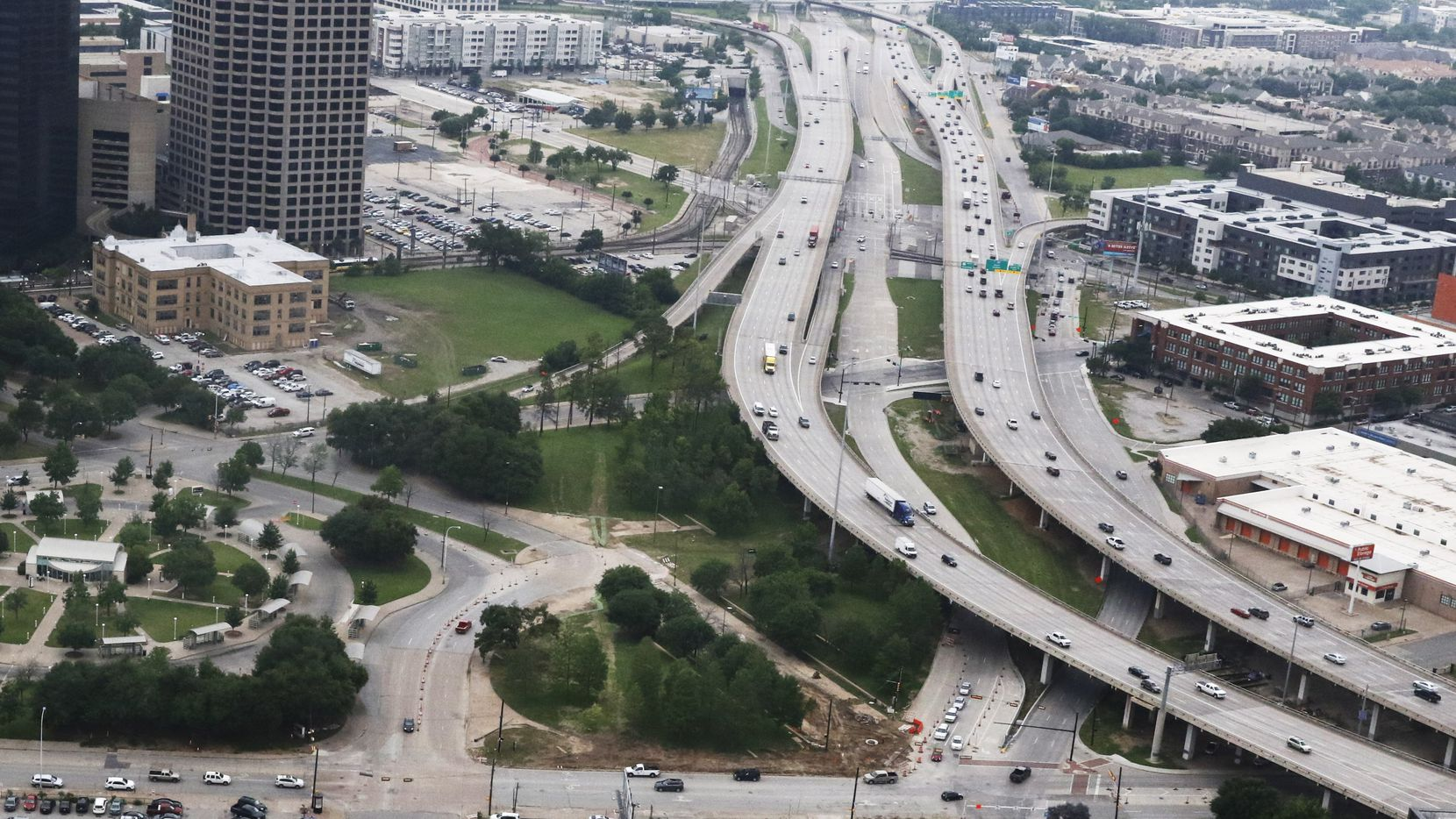 Aerial of Interstate 345 as it slices past downtown and Deep Ellum.