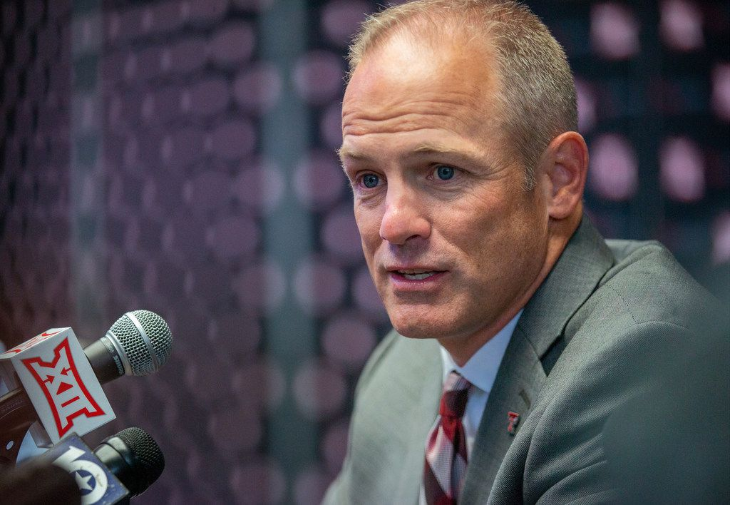 Texas Tech University head football coach Matt Wells speaks with reporters during the breakout session of the Big 12 Conference Media Days event at the AT&T Stadium in Arlington, Texas, Monday, July 15, 2019. (Lynda M. Gonzalez/The Dallas Morning News)