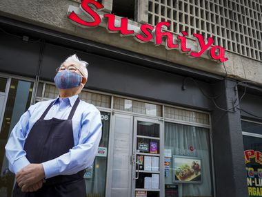 Owner Kang Lee photographed at Sushiya restaurant on Thursday, April 15, 2021, in Dallas.  The restaurant in downtown Dallas went viral after the grandson of the owner posted a video on TikTok of his grandpa's restaurant, saying business has been tough and asking people to come by if they can. (Smiley N. Pool/The Dallas Morning News)