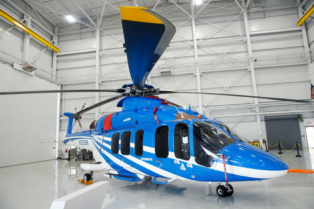 A new Bell 525 long range helicopter which was unveiled in Dallas in 2012, is designed to transport up to 19 passengers. It was on display at the Bell Flight Research Center in Arlington, Texas, Thursday, October 25, 2018. (Tom Fox/The Dallas Morning News)