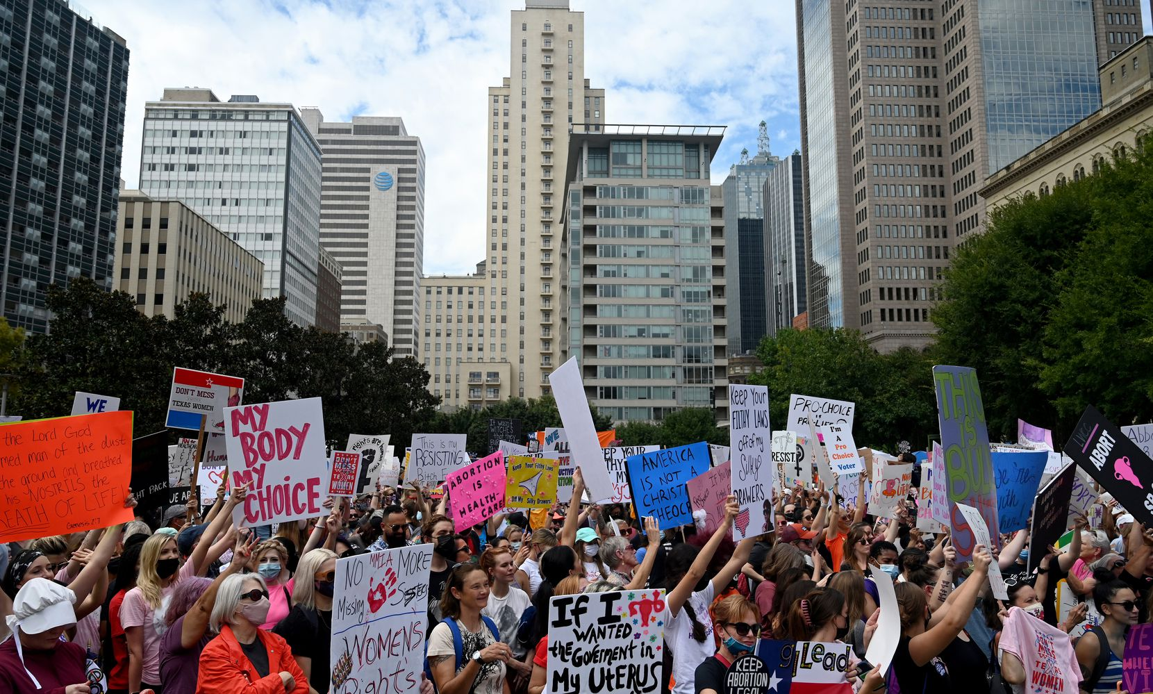 Saturday's marches in Dallas and across the nation came a day after the Justice Department argued before a federal judge in Austin that Texas' near-total ban on abortions is unconstitutional. The judge hasn't said when he will issue a decision.