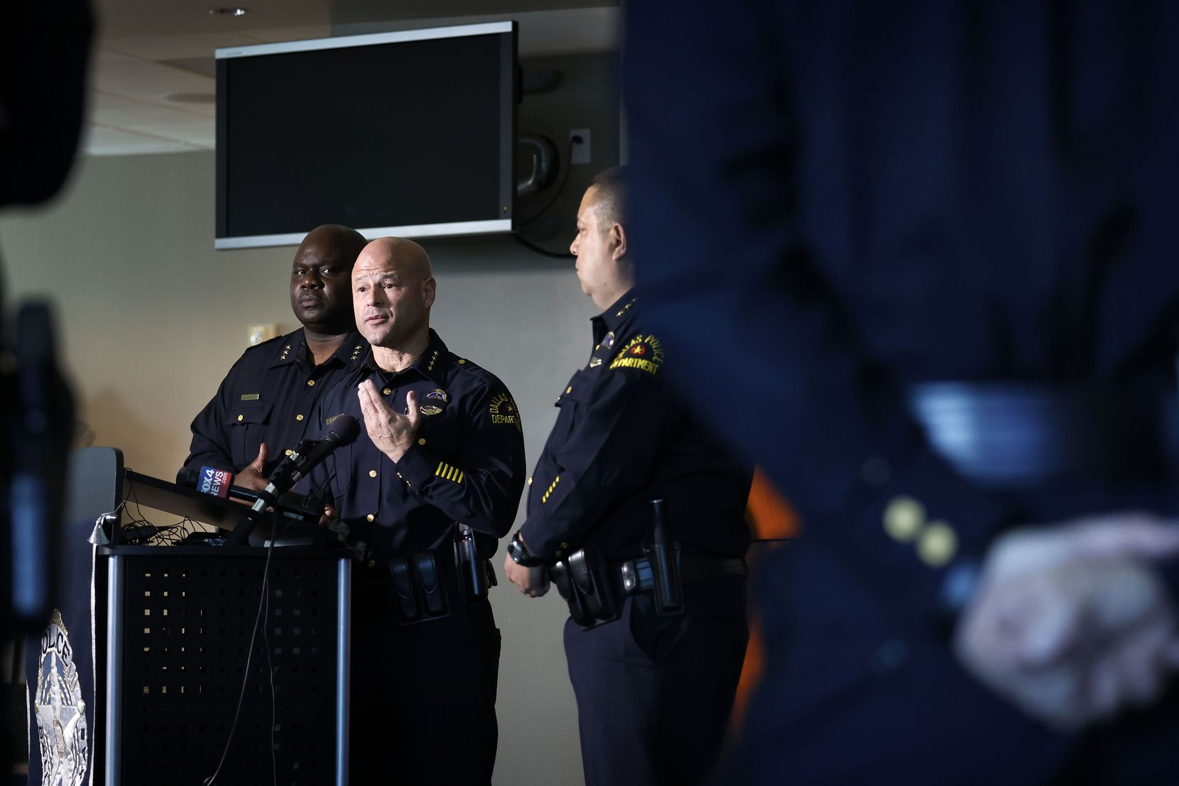 Dallas Police Chief Eddie García responded to media questions about the arrest of Angela West.