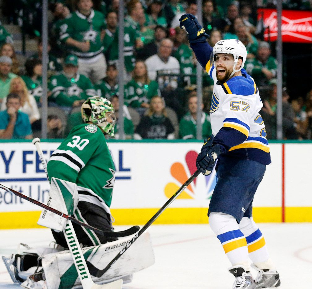 St. Louis Blues left wing David Perron (57) celebrates his second period score on Dallas Stars goaltender Ben Bishop (30) on Sunday, May 5, 2019 at the American Airlines Center in Dallas, Texas. The teams were playing Western Conference Second Round Game 6 of the 2019 NHL Stanley Cup Playoffs. (Tom Fox/Dallas Morning News/TNS)