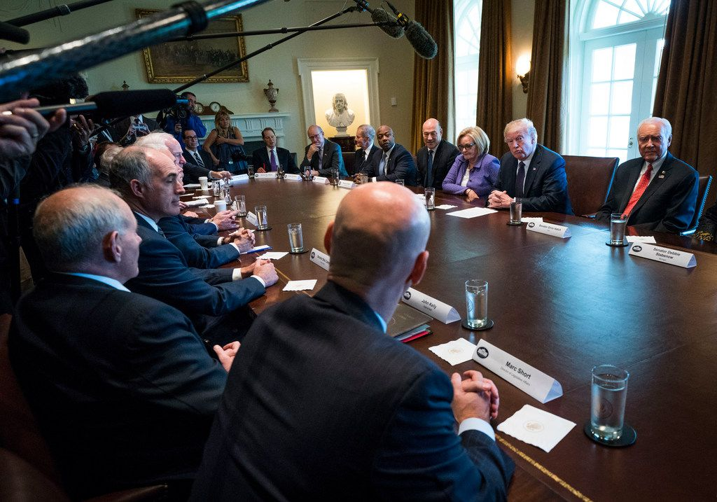 President Donald Trump speaks during a meeting with members of the Senate Finance Committee in the Cabinet Room of the White House in Washington.