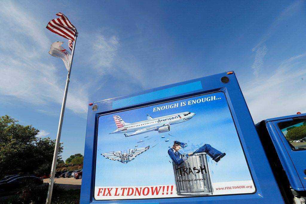 The Allied Pilots Association is using this billboard truck to drive around Dallas-Fort Worth International Airport to advertise American Airlines pilots demands for improved long-term disability benefits and bring them in line with rest of company. (Tom Fox/The Dallas Morning News)