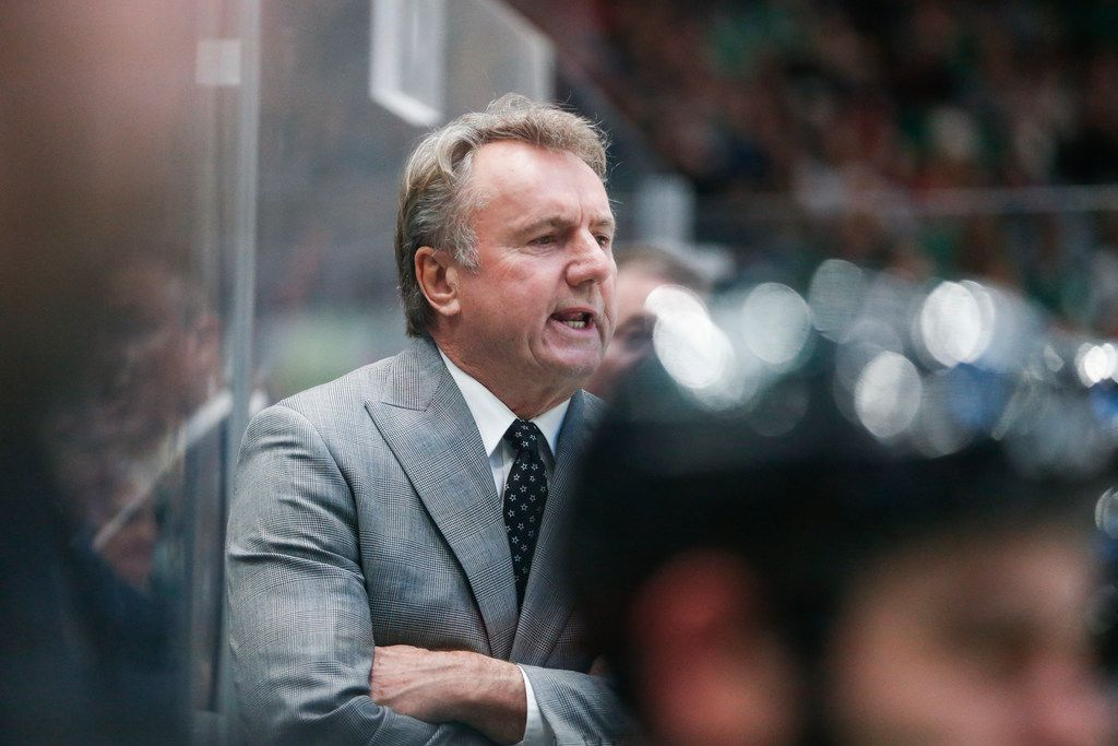 FILE - Stars interim head coach Rick Bowness is pictured during the second period of a game against the New Jersey Devils on Tuesday, Dec. 10, 2019, at American Airlines Center in Dallas.