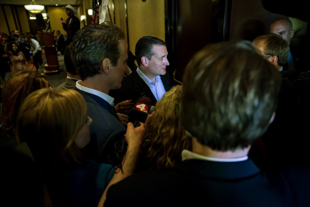 Ted Cruz departs after speaking at the Republican Party of Texas delegation breakfast on day four of the Republican National Convention in Cleveland, July 21, 2016. Cruz talked down people taunting him at a fractious breakfast forum after his performance onstage upended the Republican National Convention.