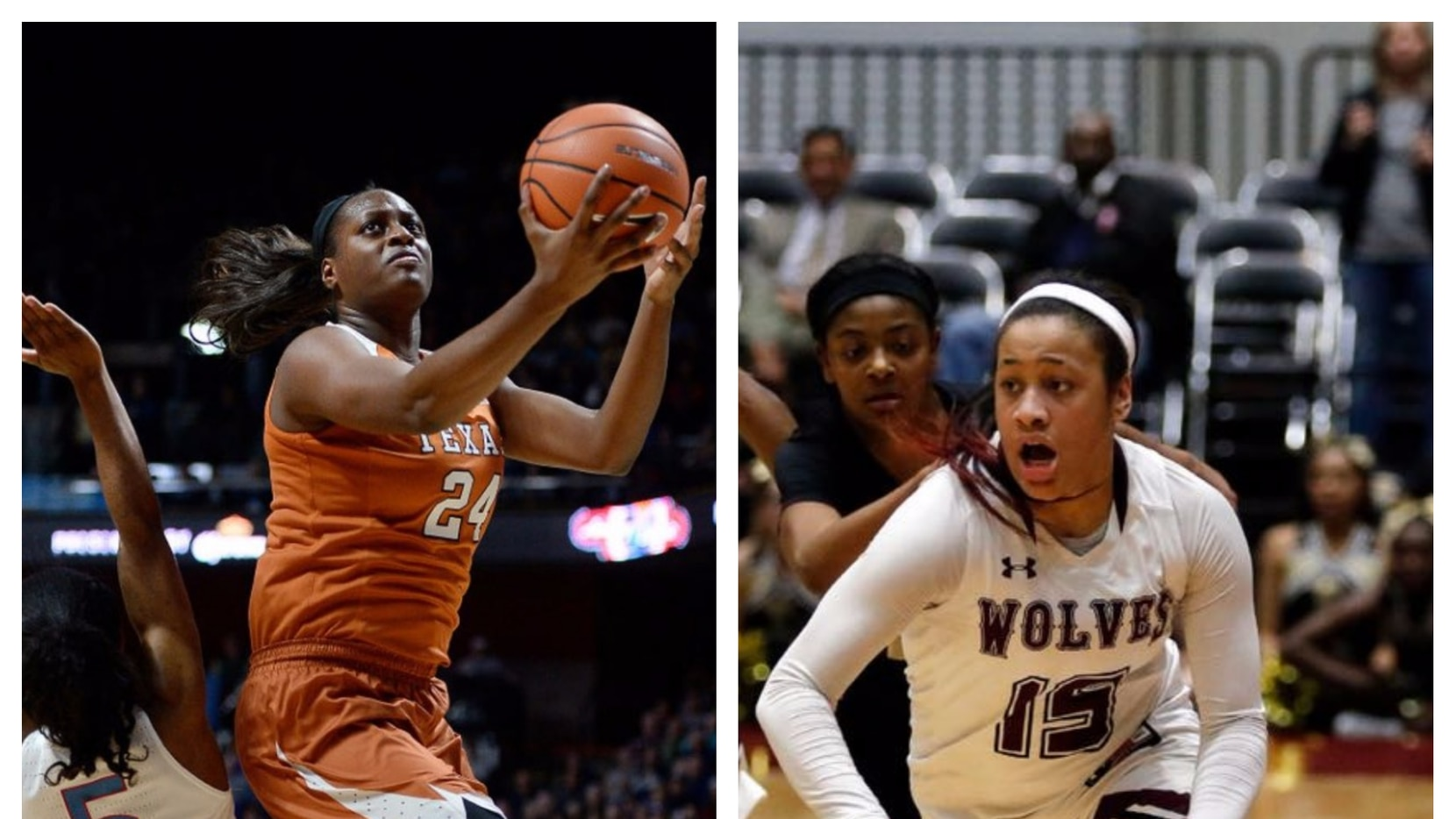 Left: Former Cedar Hill star Joyner Holmes of Texas. Right: Chennedy Carter from Mansfield Timberview.