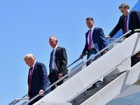 Ronny Jackson, second from right, is running for Congress in the Panhandle. He met President Donald Trump aboard Air Force One on a recent trip to Dallas. Jackson is battling Josh Winegarner, not pictured. in a GOP primary runoff. Also in the photo is Alabama Senate candidate Tommy Tuberville, second from left, and U.S. Attorney General Bill Barr.
