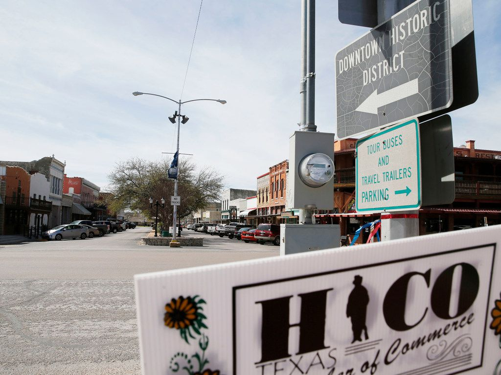 Various shops and restaurants along Pecan street in Hico.
