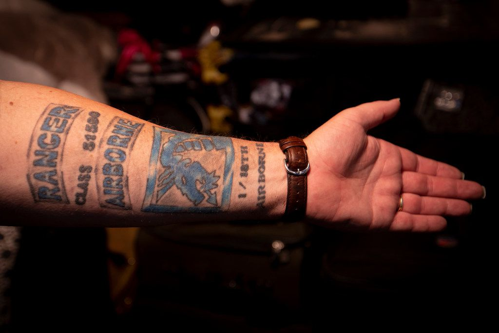 Jeff Slaughter shows off the tattoo on his left forearm on Wednesday, June 6, 2018, in Denton. Slaughter says he wants answers after his monthly disability check didn't show up in his bank account earlier this month.
