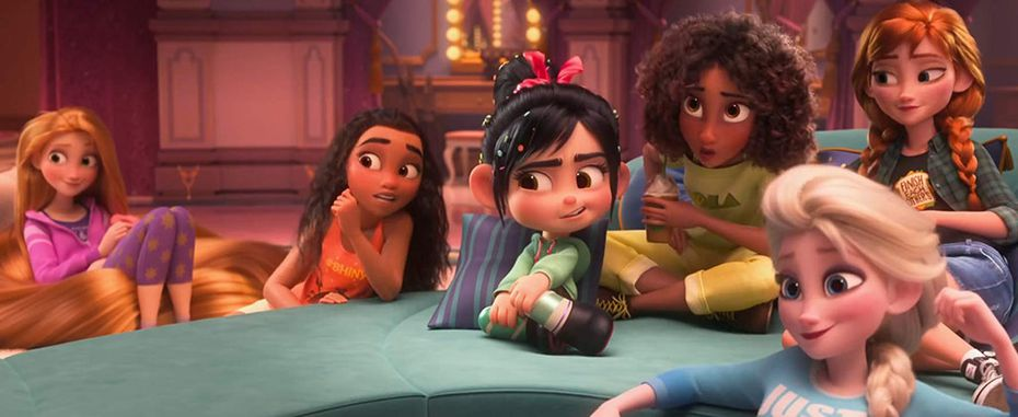 """Kristen Bell, Mandy Moore, Sarah Silverman, and Auli'i Cravalho in """"Ralph Breaks the Internet"""""""