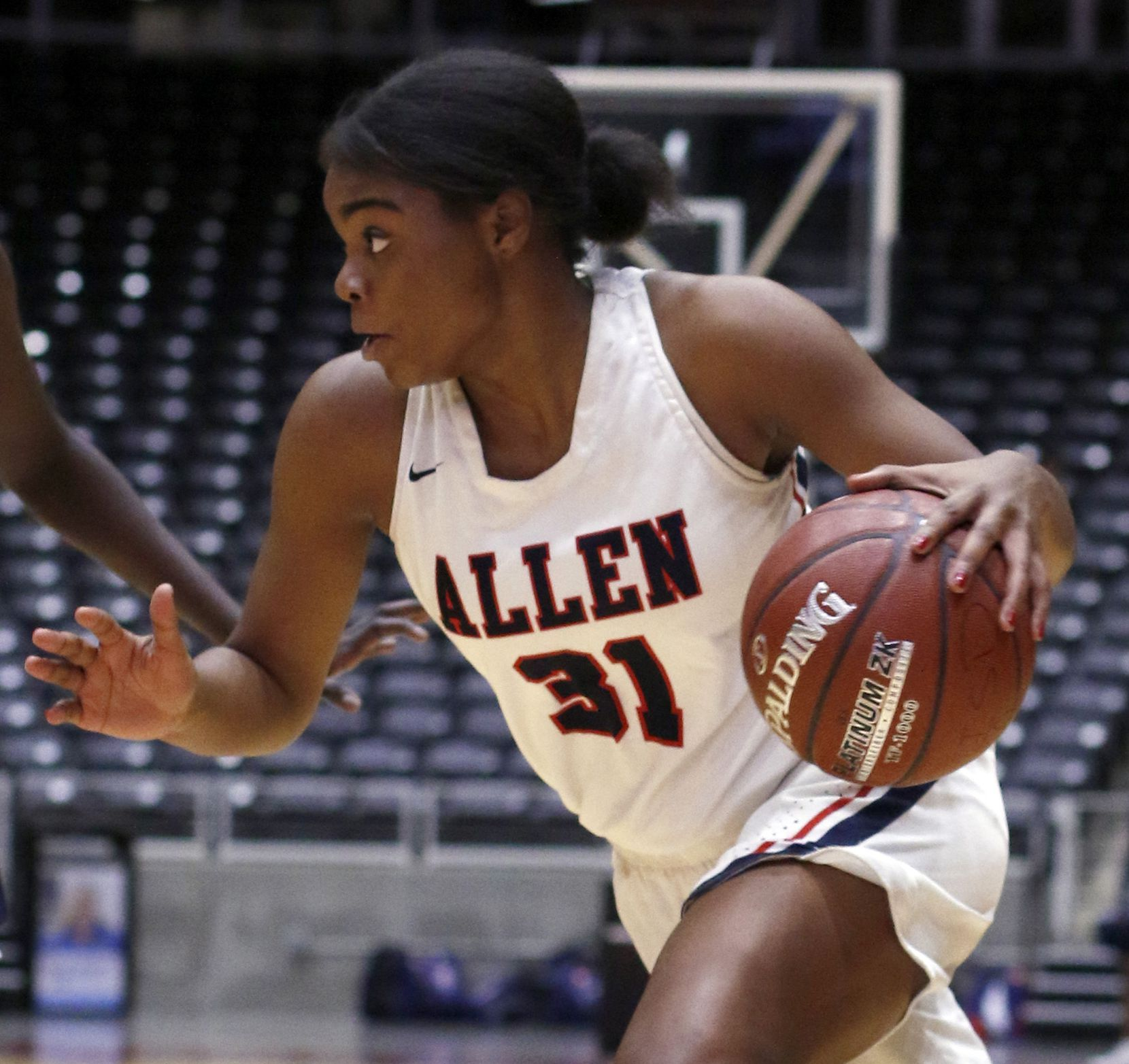 Allen guard Nyah Green (31) drives to the basket during second half action against Sachse. The two teams played in the Class 6A Region ll quarterfinal girls playoff basketball game at the Curtis Culwell Center in Garland on February 19, 2019. (Steve Hamm/ Special Contributor)