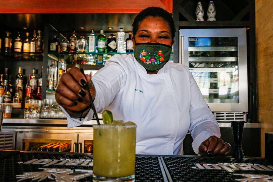 Miriam Jimenez makes a Casa Noble margarita at her restaurant Miriam Cocina Latina in Dallas.