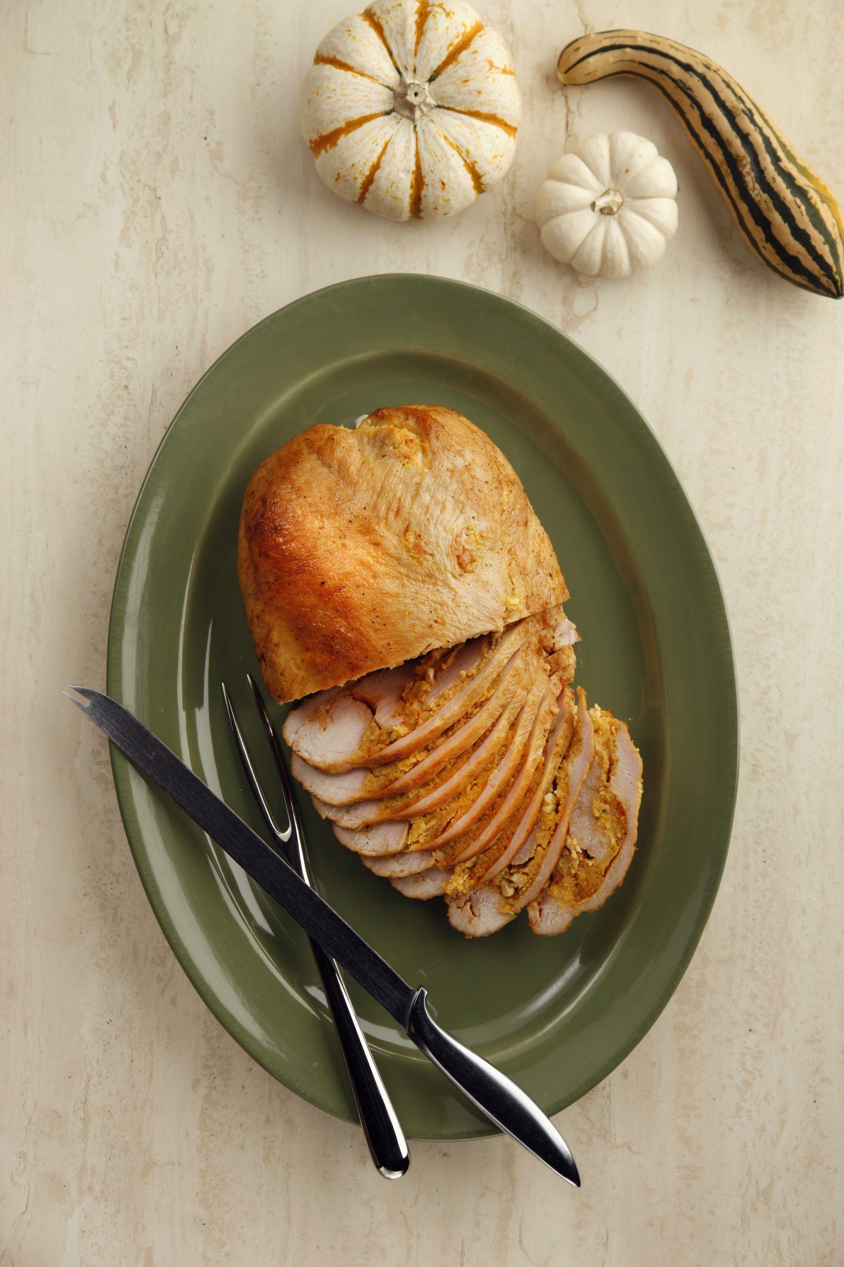 Turkey breasts marbled with crawfish cornbread or jalapeno cornbread from Cajun Turkey Co.