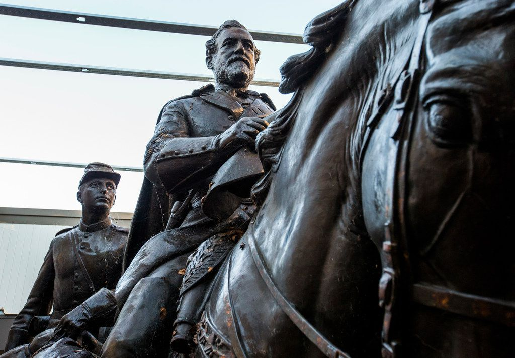 Few people have seen what became of Alexander Phimister Proctor's statue of Robert E. Lee and a young soldier since its removal from the park formerly known as Lee Park,  where it stood for over 80 years until its removal in September 2017. Shortly before Christmas, on Dec. 20, 2018, The Dallas Morning News got a behind-the-scenes look at the secure storage area where the statue has been kept at Hensley Field, the former Naval Air Station on the west side of Mountain Creek Lake in Dallas.