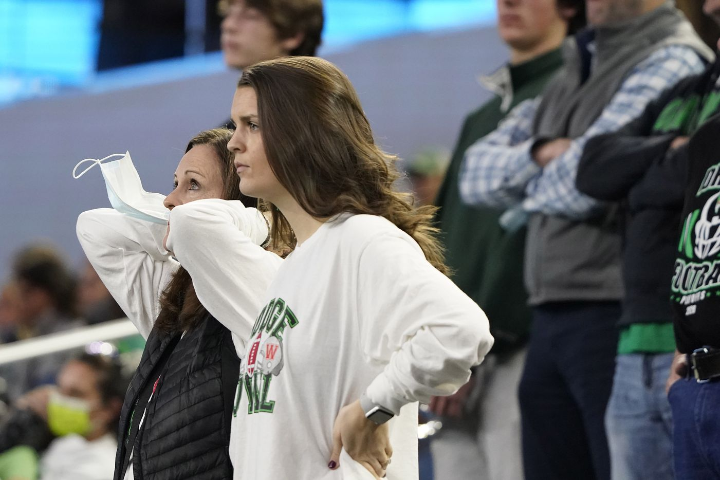Alexis Dodge, wife of Southlake Carroll head coach Riley Dodge, watches during the third quarter of the Class 6A Division I state football championship game against Austin Westlake at AT&T Stadium on Saturday, Jan. 16, 2021, in Arlington, Texas.