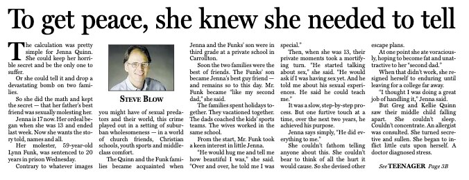 The article Steve Blow wrote about Quinn's abuse published on November 14, 2004, taken from The Dallas Morning News Archives.
