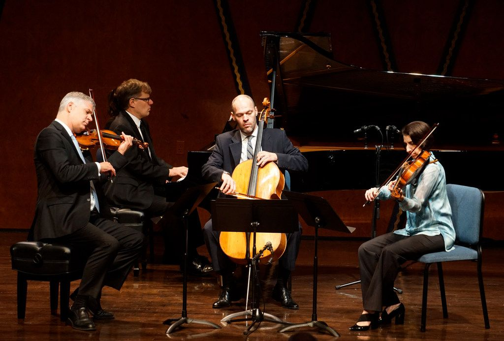 Stephen Rose (violin), John Novacek (piano), Brant Taylor (cello) and Joan DerHousepian (viola) perform Gustav Mahler's Piano Quartet in A Minor at the PepsiCo Recital Hall on the campus of Texas Christian University in Fort Worth, Texas on Friday, July 5, 2019.