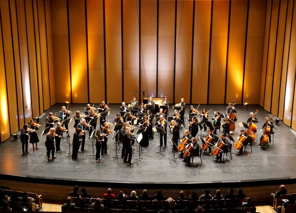 "Dallas Symphony Orchestra plays the first movement of Mozart's Symphony No. 25 during their ""ReMix"" concert at Moody Performance Hall in Dallas on Feb. 8, 2019."