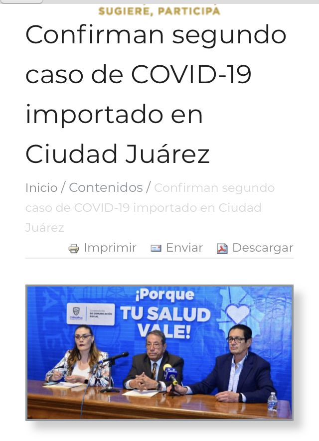 "State of Chihuahua news headline notes COVID-19 case was ""imported"" to Ciudad Juarez."