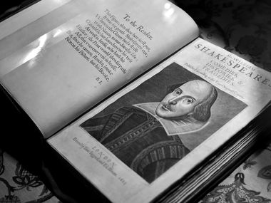 William Shakespeare's 'Comedies, Histories and Tragedies,' the first collected edition of his plays preserved, are on display at the Dallas Public Library downtown.