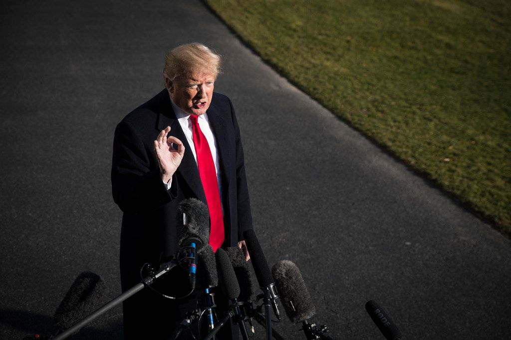 President Donald Trump speaks to reporters after returning to the White House in Washington from Camp David, where he met with senior staff to discuss the shutdown and border security.