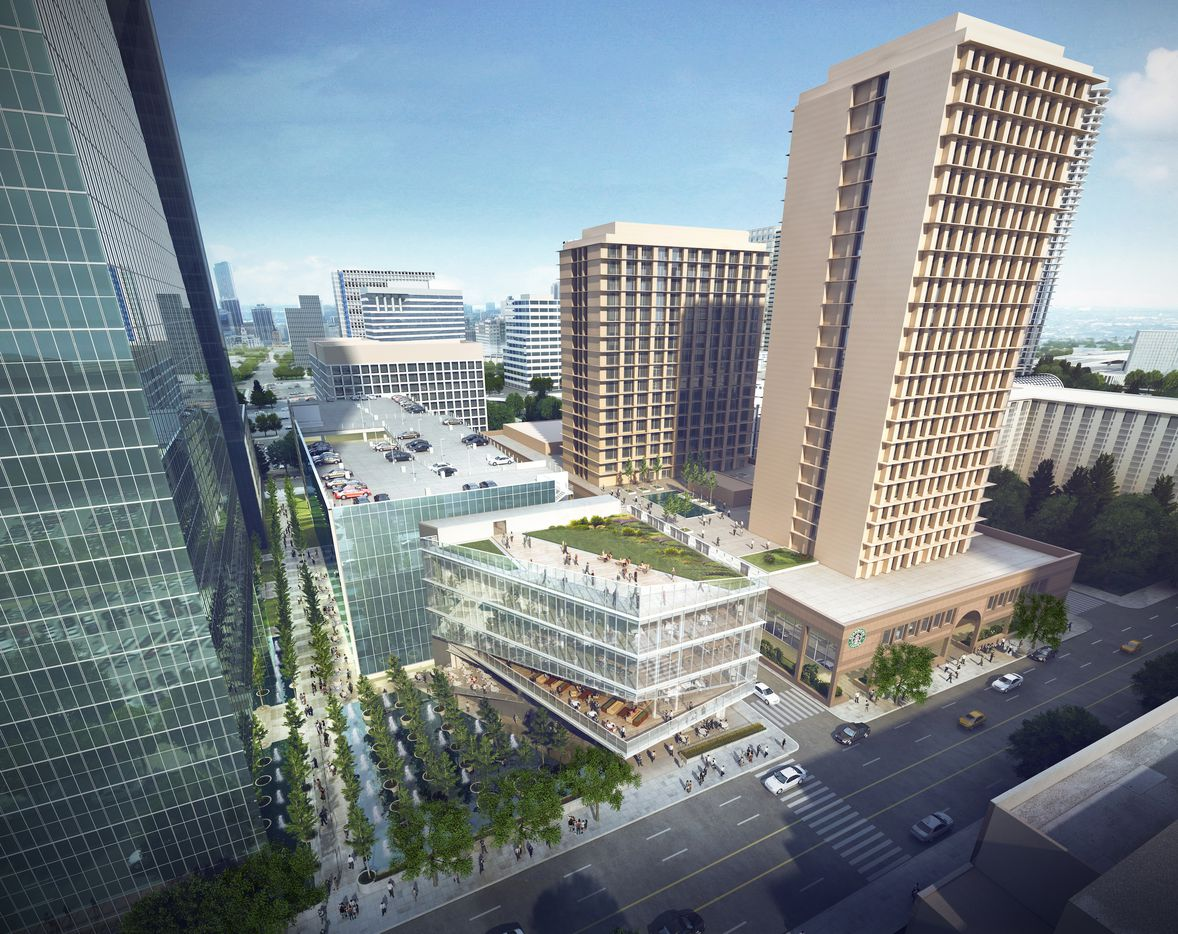 A 10-level parking garage and retail plaza is being built on the northeast side of the tower.