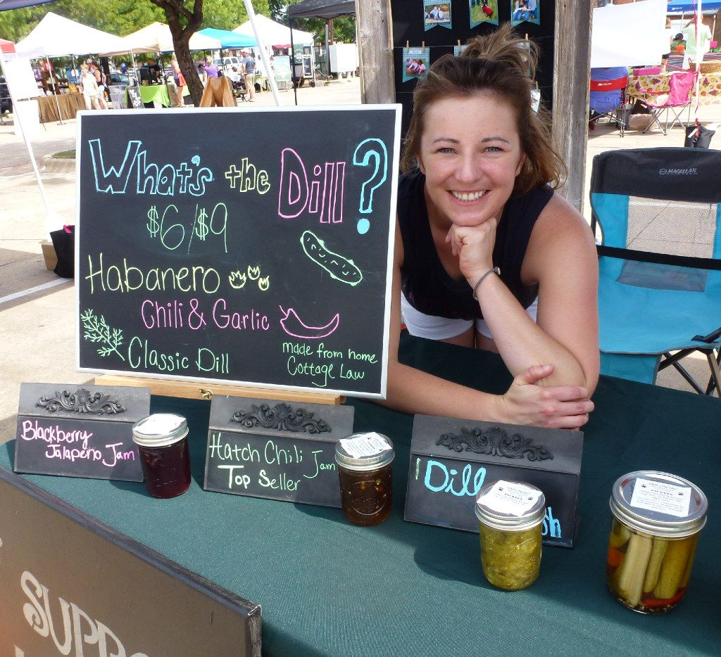 Frisco locals Audrey Lembke and husband Austen make and sell dill pickles and jams to benefit the Operation Kindness no-kill animal adoption facility in Dallas.
