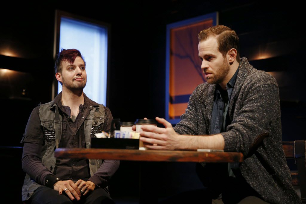 "Drew Wall (left), playing Frank, and Alex Organ, playing Jamie, perform in ""The Great God Pan""  for Second Thought Theatre at Bryant Hall on the Kalita Humphreys Campus in Dallas Wednesday April 20, 2016. The play is by Amy Herzog and directed by Carson McCain. (Andy Jacobsohn/The Dallas Morning News)"