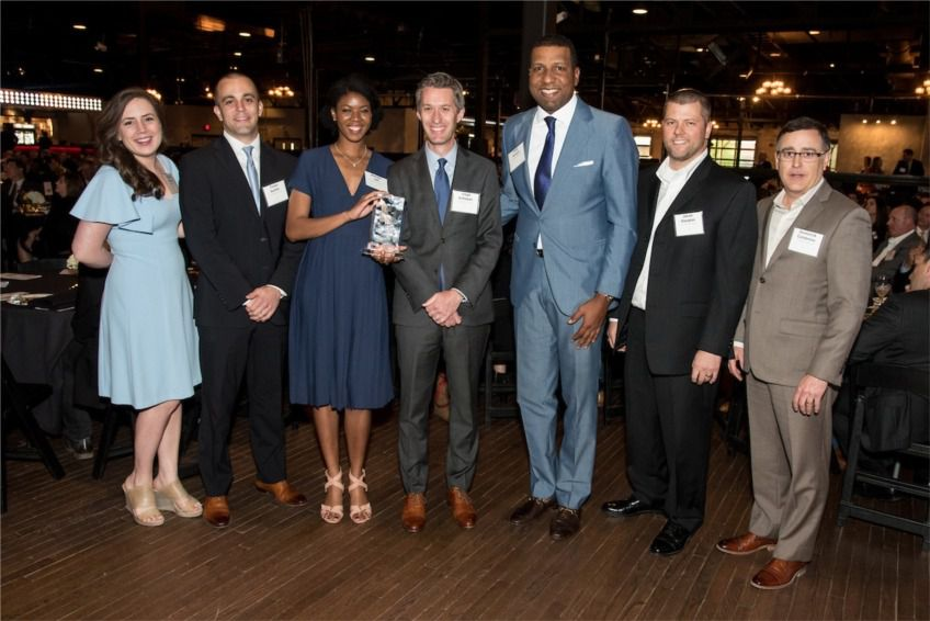 The Beck Group's Dallas team celebrated winning an award for contributions to the construction industry in Dallas.