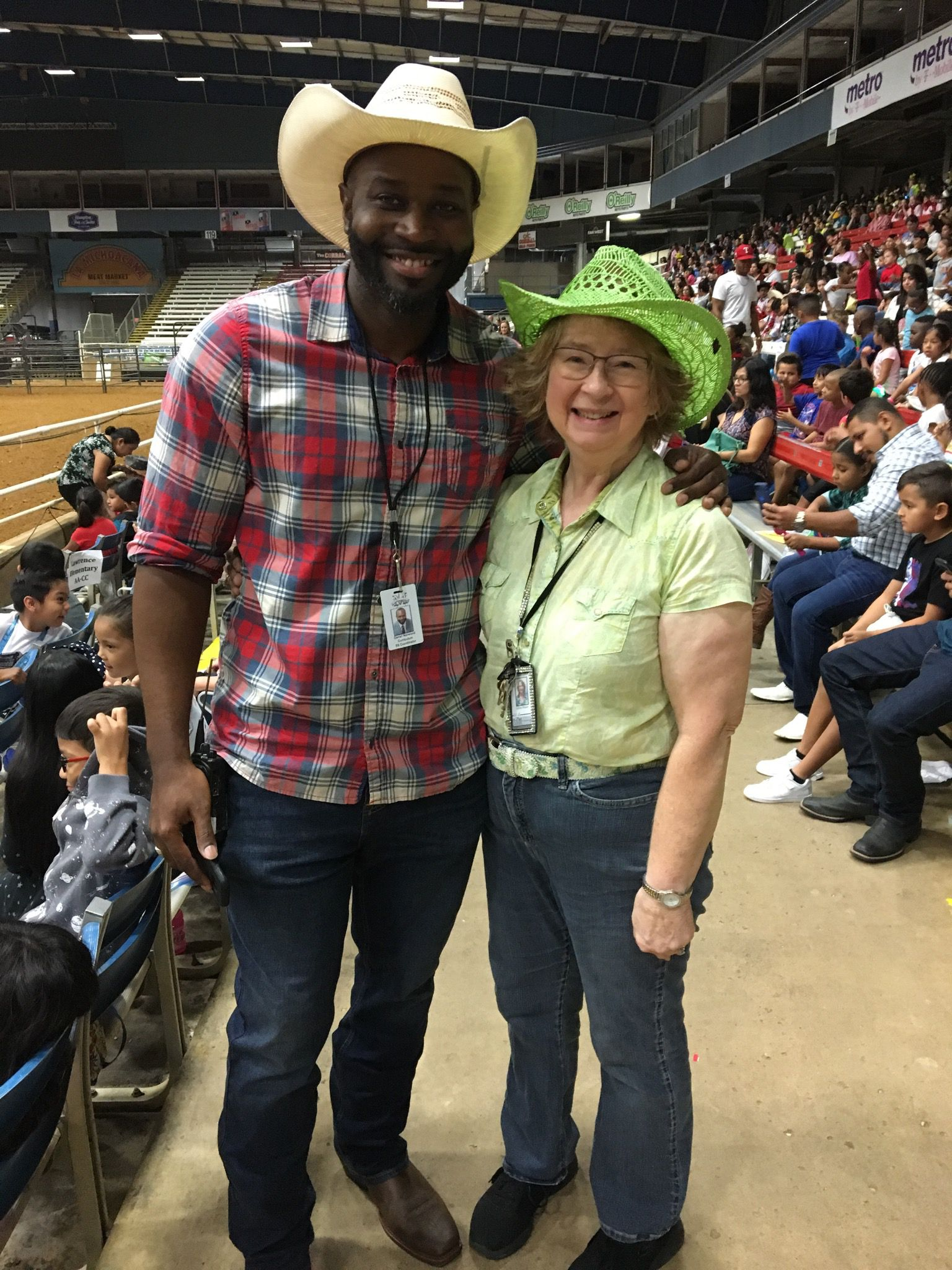 Daniel Norwood, the K-12 social studies coordinator for Mesquite ISD, and Louise Weaver, a Mesquite ISD teacher, smile at one of the district's Rodeo Day events. Weaver, who is retiring this year after a 50-year career as an educator, knew Norwood when he was in kindergarten and has seen him and dozens of other students go on to fill important jobs.