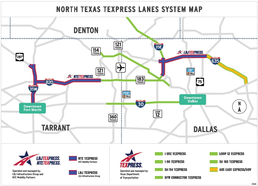 """The TEXpress road network of """"managed lanes."""""""