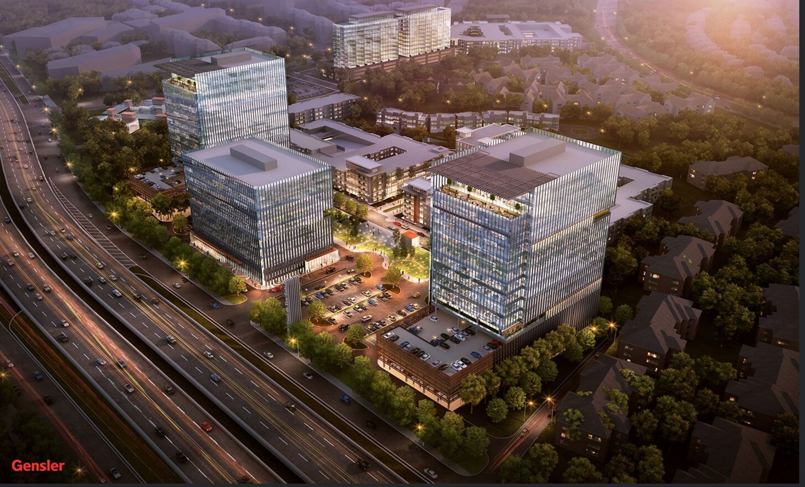 The Auspire development, shown in a rendering, includes three office buildings plus retail space.