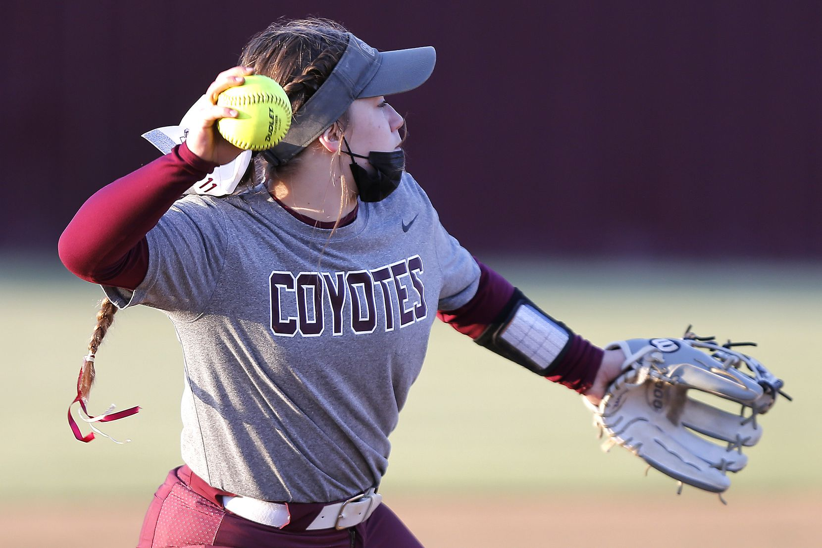 Heritage shortstop Elyse LeClair (1) makes the throw for an out in the first inning as Heritage High School hosted Memorial High School for the District 9-5A softball championship in Frisco on Tuesday, April 20, 2021. (Stewart F. House/Special Contributor)