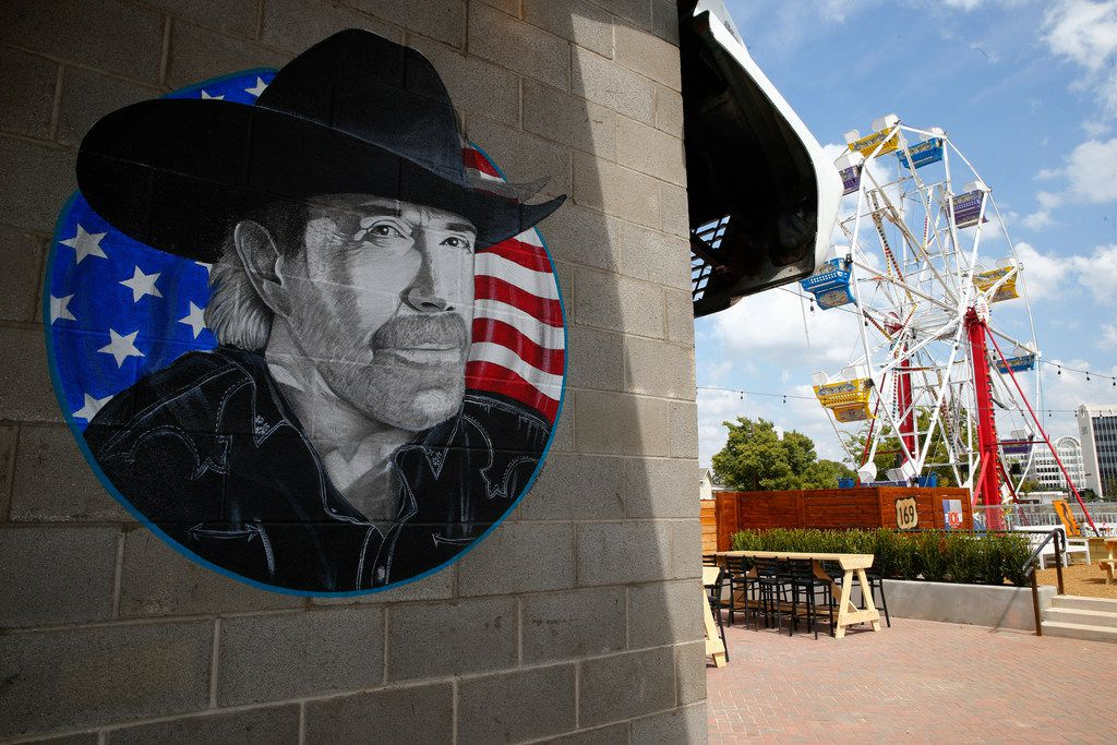 A painting of Chuck Norris in the backyard patio at Ferris Wheelers Backyard & BBQ in Dallas on Sept. 25, 2017.   (Nathan Hunsinger/The Dallas Morning News)