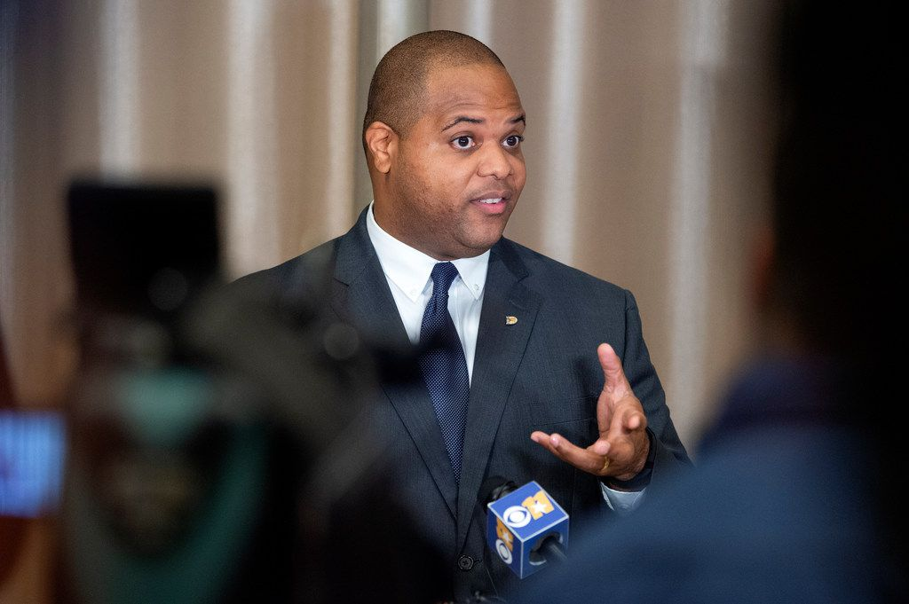 Newly inaugurated Dallas Mayor Eric Johnson answers questions from the media about his plans to address a recent spike in violent crime after taking the oath of office. (Jeffrey McWhorter/Special Contributor)