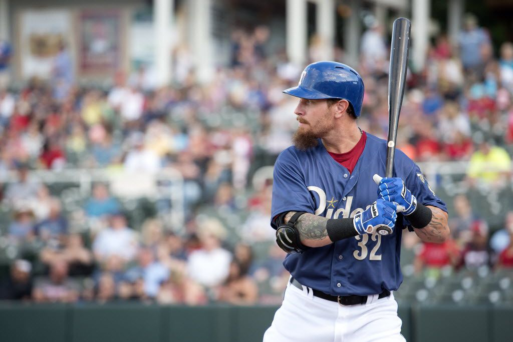 Texas Rangers outfielder Josh Hamilton waits on deck before his first at-bat of a rehab assignment with the Frisco Roughriders against the Corpus Christi Hooks on Saturday, April 30, 2016 at Dr. Pepper Ballpark in Frisco, TX. (Jeffrey McWhorter/Special Contributor)